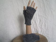Women's accessories. Goth Outlander steampunk lacy fingerless handknitted mittens. Practical and stylish, these make great Xmas gifts.One of a kind design, hand made in Wales, £10.00 - available from www.liliwenfachknits.co.uk