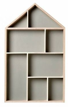 Bloomingville House type case gray / white, Display box, wood, gray inside 50cm