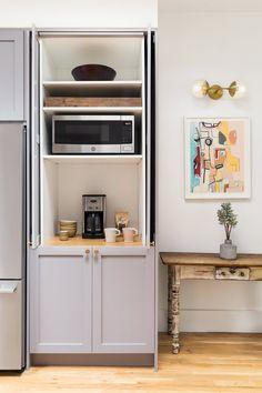Coffee Nook, Coffee Bar Home, Coffee Station Kitchen, Ikea Sektion Cabinets, Ikea Wall Cabinets, Ikea Pantry, Coffee Cabinet, Appliance Garage, Appliance Cabinet