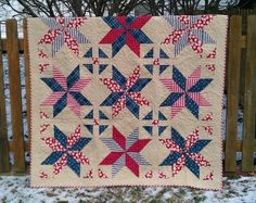 The Baseball Quilt | Kelsey Sews - with link to video tutorial, which makes this look easy peasy and the stars can be made any size depending on the size of square you start with.