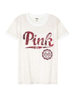 Ringer Tee in Heather Silver Bling $32.95- PINK - Victoria's Secret