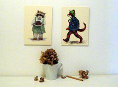 "Bilderduo ""Bär und Fuchs"" von Tizia Hula auf DaWanda.com Hula, Clock, Etsy, Illustration, Home Decor, Fox, Heroes, Watch, Decoration Home"
