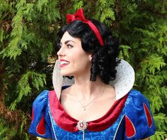 Snow White Parks Style Adult Costume Wig short black finger wave with red bow. A True Enchantment Original by littlepennylane