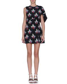 Orchid-Print Asymmetric Capelet Dress, Black/Oasis