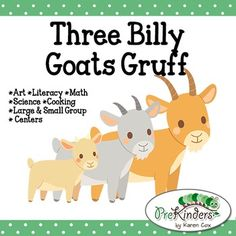 The Three Billy Goats Gruff fairy tale activity pack includes activities for Literacy, Math, Science, Art, Dramatic Play, Centers, and more!