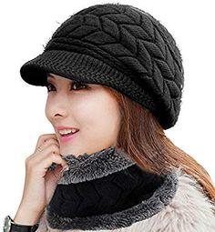 77fa6a381eb HINDAWI Women Winter Warm Knit Hat Wool Snow Ski Caps With Visor Winter  Leggings
