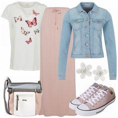 Schöner, romantischer Frühlingslook aus rosa Maxirock, weißem Shirt und einer Jeansjacke von ONLY:.. #fashion #fashionista #mode #damenmode #frauenmode #damenkleidung #frauenkleidung #bekleidung #shop #onlineshop #frühling #inspiration #outfit