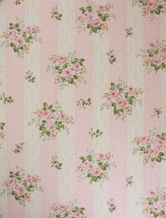 1950's Vintage Wallpaper Pink Roses on Pink and by RosiesWallpaper