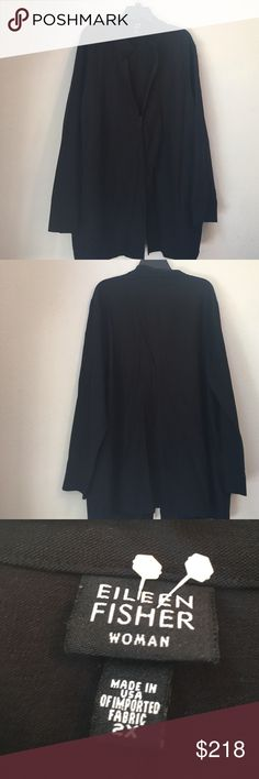 Host pick Eileen fisher black jacket size 2x Thanks so much for looking. I accept all reasonable offers!!  Host pick for plus size posh party 4/12/17!! Eileen Fisher Jackets & Coats