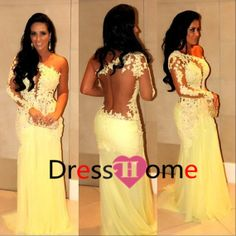 Lace Backless Sweep Train Mermaid Prom Dress / Lace by DressHome, $278.00