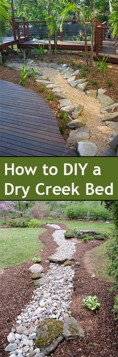 DIY Dry Creek Bed Ideas for your landscape. Beautiful ways to add a creek to your yard or landscape without adding water. Between the 2 large pines & more. Dry Creek Bed, Dry River, Yard Design, House Design, Plantation, Outdoor Projects, Garden Inspiration, Garden Ideas, Backyard Landscaping