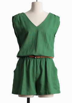 Blissful Meadow Belted Romper | Modern Vintage Bottoms