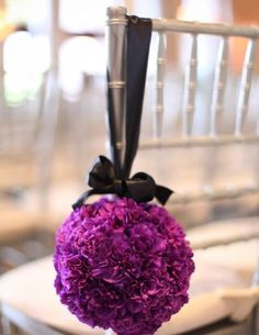 Aisle wedding flowers, ceremony wedding décor, pew or chair purple wedding flowers, pomander, add pic source on comment and we will update it.