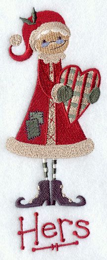 Primitive Mrs. Claus - Hers design (D6213) from www.Emblibrary.com