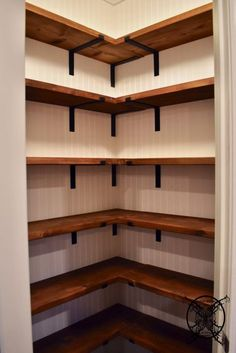 DIY Farmhouse Pantry Shelves | JENRON DESIGNS Diy Kitchen Storage, Pantry, Bookcase, Shelves, Walk In Pantry, Larder Storage, Bookcases, Book Furniture, Bookcase Closet