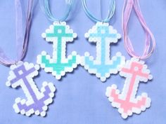 Kawaii Perler Bead Anchor Necklace Anchor by MizziexoxoBoutique