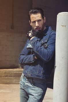 Men's Wear Trend: Denim Rewind  (Jean Machine's denim jacket, Prps' denim shirt and Rag & Bone's denim jeans, all in cotton. Pratt and Hart gloves.)  [Photo by Hans Neumann]