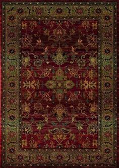 Kharma Green and Burgandy floral rug - Sphinx by Oriental Weavers | Rugs by SelectRugs.com