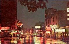 RUSH STREET AT NIGHT - c1960 Hung out there in the 70's. The Backroom, Punchinello's, Mr. Kelly's