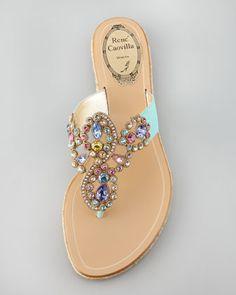 Pastel Rene Caovilla Jeweled Flat Thong Sandal