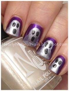 I am bringing before you 18 Halloween ghost nail art designs, ideas, trends & stickers of Draw the ghost faces in white or black colors on your nails and show the Halloween streak on Halloween Day—October Holiday Nail Designs, Holiday Nail Art, Halloween Nail Art, Christmas Nail Art, Nail Polish Designs, Cool Nail Designs, Love Nails, Pretty Nails, Hoilday Nails