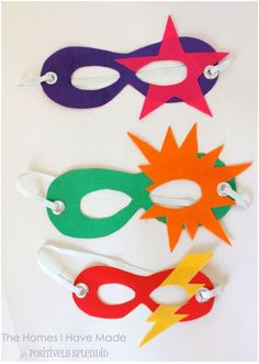 No sew superhero masks for kids. Perfect for playing dress-up and pretend play!