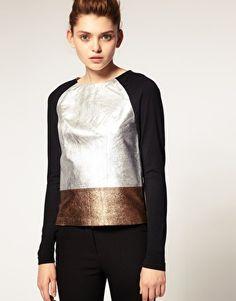 Premium Silver Metallic Leather Top