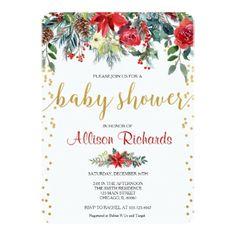 Holiday baby shower invitation floral watercolors - Xmas ChristmasEve Christmas Eve Christmas merry xmas family kids gifts holidays Santa