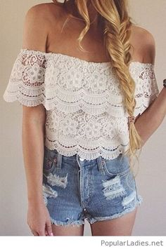 White lace top and short jeans