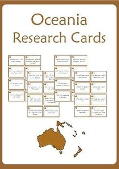 Oceania Research Cards - 32 research/task cards for guiding students learning and honing their atlas skills