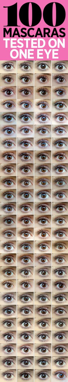 100 MASCARAS tested on ON EYE! For comparison! by Cosmo's Beauty Lab. From what I could tell & for big lashes, L'oreal Paris Volume Million Lashes Mascara ( gave the most volume, thickness & length! And it's drugstore cheap! All Things Beauty, Beauty Make Up, Diy Beauty, Beauty Hacks, Fashion Beauty, Pretty Makeup, Love Makeup, Makeup Tips, Makeup Stuff