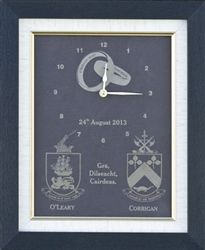 Shop hand crafted personalized engraved framed slate clock with family crests for anniversary and wedding function from our Irish gift online shopping store Irish Wedding Blessing, Wedding Function, Family Crest, Crests, Online Gifts, Slate, Personalized Gifts, Wedding Gifts, Custom Design