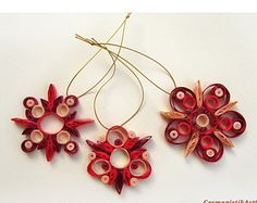 Christmas Decoration Set of 3 Quilling Snowflakes, Christmas decor, Christmas gift