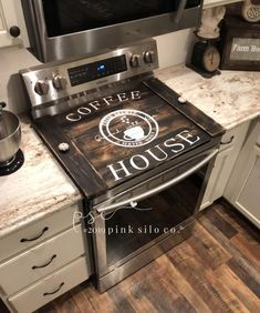 Thank you so much for visiting my shop! My unique farmhouse style signs will look great anywhere in your home! They are designed and hand painted by me. I make each one in my home after the order is placed. I usually do not keep any instock, they are all made to order. If I do have one in stock it Cricut Projects Vinyl, Stove Cover, Coffee House, Kitchen Decor, Stove Board, Farmhouse Style Sign, Corner Stove, Kitchen Design, Rustic House