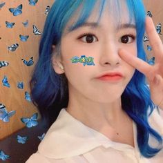 Pop Photos, Yu Jin, Starship Entertainment, Blusher, Cute Icons, Kpop Aesthetic, The Wiz, Blue Hair, Kpop Girls
