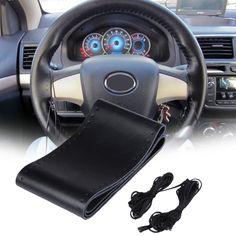 38cm Couverture De Volant De Voiture en Cuir Auto Steeing-Wheel D/écoration De Voiture Style pour VW Skoda Chevrolet Ford Nissan