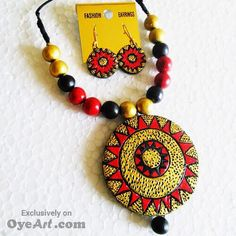 This #necklace set with #earrings from Oyeart #Designer #Jewelry will bag you oodles of #compliments. The necklace set is made up of #high #quality material which ensures its durability and #shines with a #polished finish. Designed to #perfection this set features an #eye #catching #colorful work.