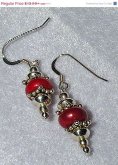 Jewelry Sale NOW 925 SILVER RED Coral Dangle by dsmenagerie