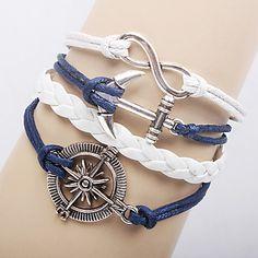 de las mujeres de múltiples capas de anclaje de aleación encantos infinitos pulseras cuero hechos a mano - EUR € 1.95