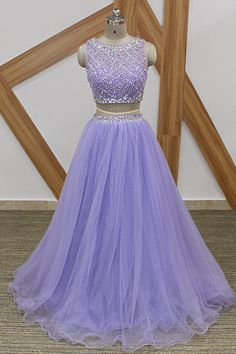 Lavender Long Prom Dresses Sparkly Beaded Top 2 Pieces Prom Dress Custom Made A Line Crop Top Tulle Arabic Party Gowns Sparkly Prom Dresses, Beaded Prom Dress, Formal Dresses, Beaded Top, 2 Piece Prom Dress, New Party Dress, Quinceanera Dresses, Party Gowns, Evening Dresses