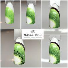 Kiwi step by step Tutorial nail Art fruit nails