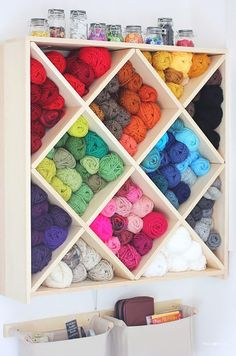 DIY Craft Room Ideas and Craft Room Organization Projects - Yarn Storage System - Cool Ideas for Do It Yourself Craft Storage - fabric, paper, pens, creative tools, crafts supplies and sewing notions   http://diyjoy.com/craft-room-organization
