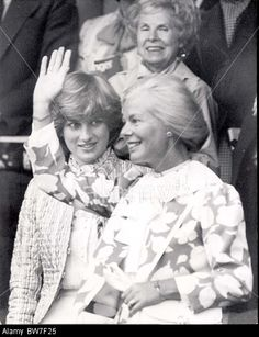 Diana Princess Of Wales Before Marriage 1981 Duchess Of Kent And Lady Diana Spencer At Wimbledon Ladies Final....public Stock Photo
