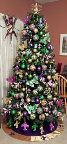 My Mardi Gras Tree - we've always talked about leaving a tree up year round and decorating for the different holidays....