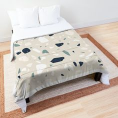 'Terrazzo Stone Pattern (Navy + White + Beige)' Comforter by NeptuneDesigns White Beige, Navy And White, College Dorm Rooms, Square Quilt, Terrazzo, Comforters, Duvet Covers, Blanket