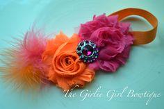 Flower headband - infant headband- baby headband -toddler headband-photography prop- babies  toddlers- Frayed flower headband - pink orange