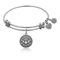 Claddagh White Brass Stackable Bangle Bracelet