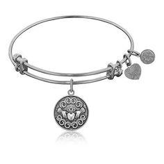 Claddagh White Brass Stackable Bangle Bracelet