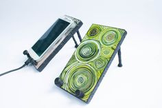 ART Handmade, Samsung Galaxy S3 or S4 Android Phone Stand Docking Station IPhone 4, IPhone5, Droid, Blackberry by DecorEtenIren on Etsy https://www.etsy.com/transaction/179894109