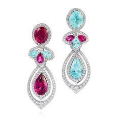 GABRIELLE'S AMAZING FANTASY CLOSET | VanLeles Brazilian Paraiba Tourmaline, Rubellite and Diamond Earrings |